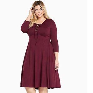 Torrid Lace Front Knit Midi Dress In Burgundy 1 1X